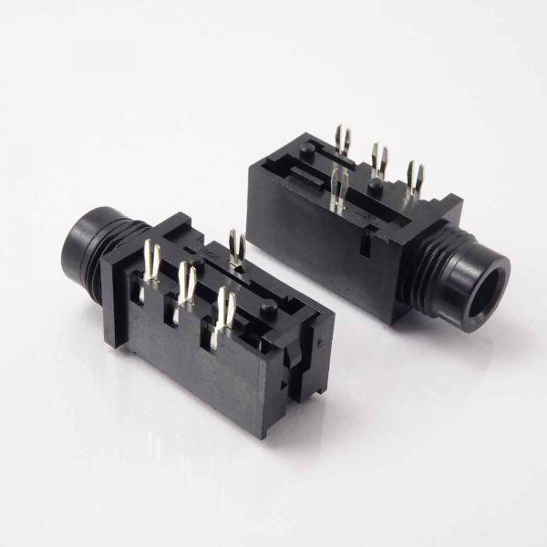 Klinkenbuchse für Printmontage 6,3 mm Stereo mit Schaltkontakt