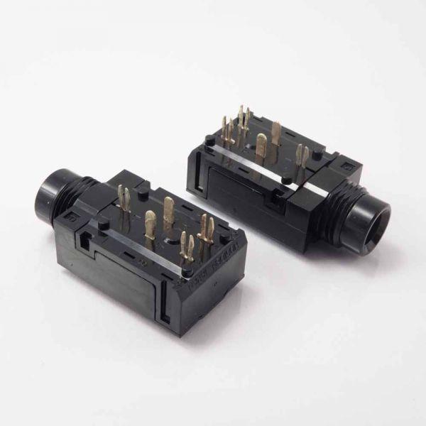 Klinkenbuchse für Printmontage 6,3 mm Stereo mit 2 Schaltkontakten