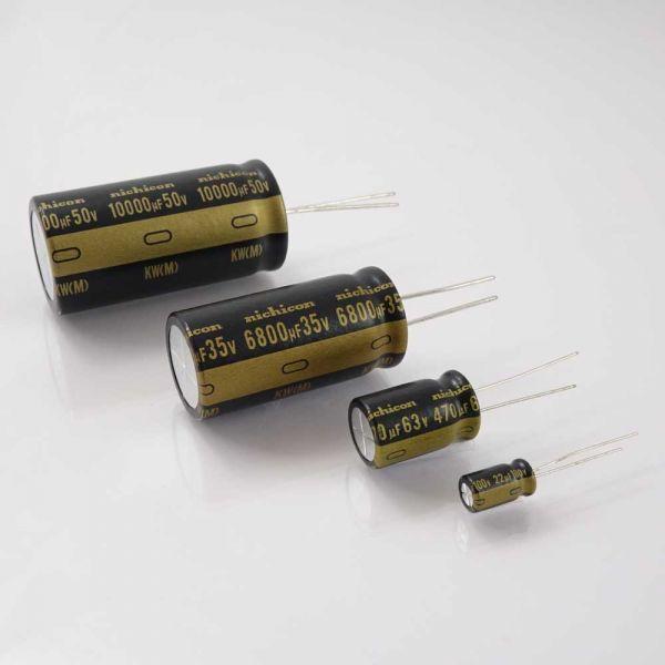 Elko 6800uF/50V für Audio, stehend, Radial, Nichicon KW-Serie