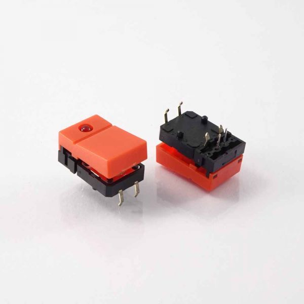OMR Taster, orange Wippe + LED rot